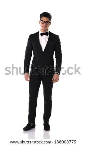 Handsome elegant young man with suit and bow-tie, full length shot - stock photo