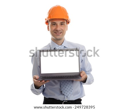 handsome engineer presenting something on his laptop isolated on white background - stock photo