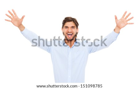 handsome excited business man happy smile, businessman raised hands arms palms looking at camera, young guy wear blue shirt, isolated over white background - stock photo