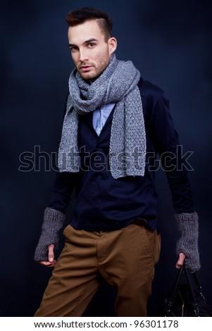 handsome fashion man model - stock photo