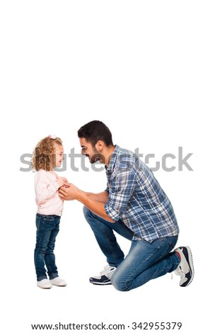 handsome father taking care of his daughter, isolated on white - stock photo