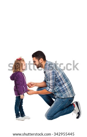 handsome father taking care of his daughter, isolated on white