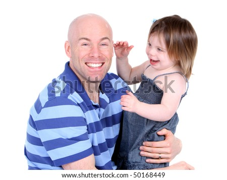 Handsome father with cute daughter sharing a laugh - stock photo