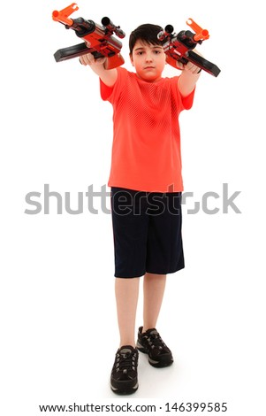 Handsome French American Boy Aiming Two  Plastic Toy AK47 Forward. - stock photo
