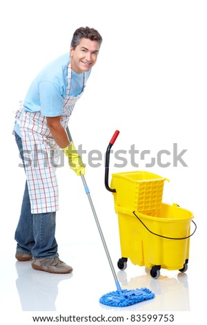 Handsome friendly cleaner. Isolated over white background - stock photo