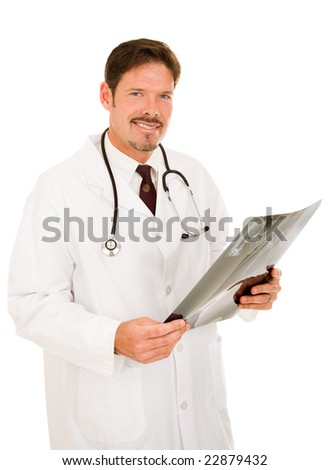 Handsome, friendly doctor holding x-ray or MRI film.  Isolated on white. - stock photo