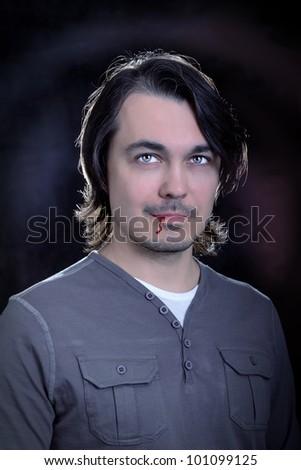 handsome  glamour vampire men, studio shot, portrait - stock photo