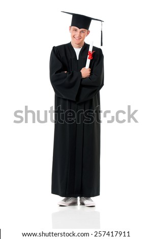 Handsome graduate guy student in mantle with diploma, isolated on white background - stock photo