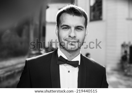 handsome groom - stock photo