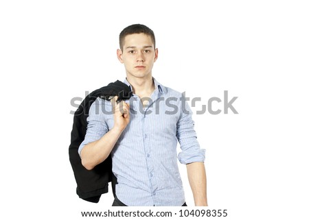 handsome guy holding his jacket - stock photo