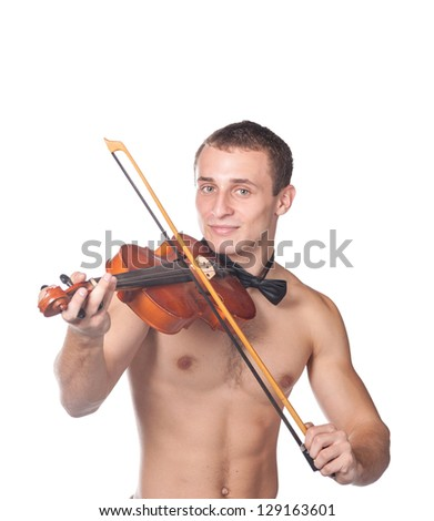 handsome guy shirtless with bow tie having fun with violin isolated on white - stock photo