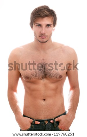 Handsome guy with naked torso isolated on a white - stock photo