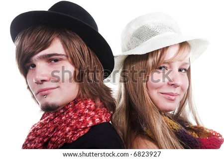 handsome guy with red scarf near beautiful girl