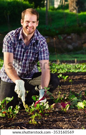Handsome happy farmer smiling and digging into the vegetable patch garden farm harvesting his produce with a hand spade