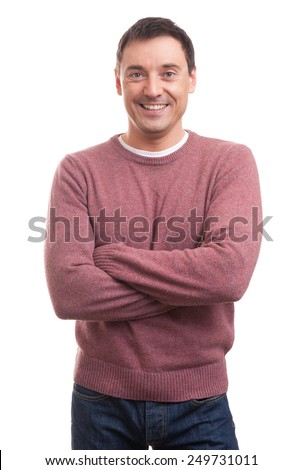 handsome happy man isolated on a white background - stock photo