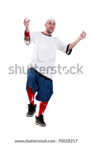 handsome happy smiling break dancer with beard - stock photo