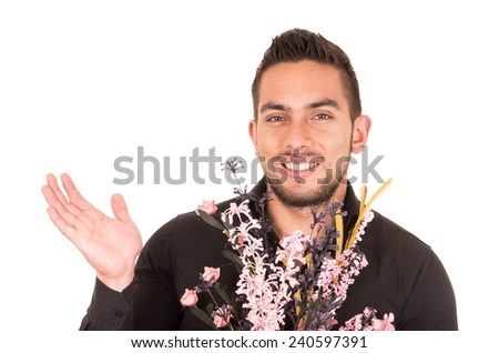 handsome happy young man holding a flower bouquet isolated on white - stock photo