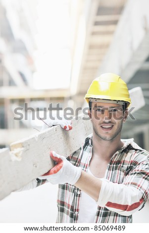 handsome hard worker people portrait at concstruction site