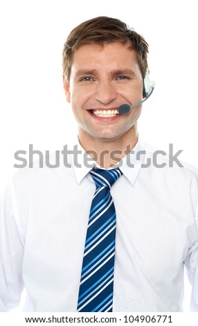 Handsome help desk male executive isolated over white - stock photo