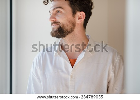 handsome hipster modern man at home