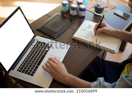 Graphic designer computer stock images royalty free images vectors shutterstock for Graphic designer work from home