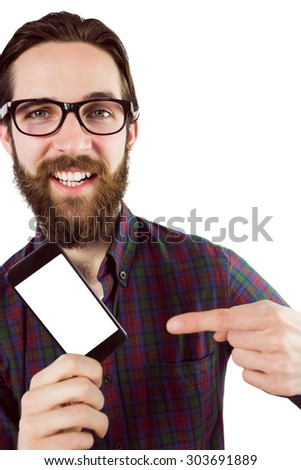 Handsome hipster showing his phone on white background - stock photo