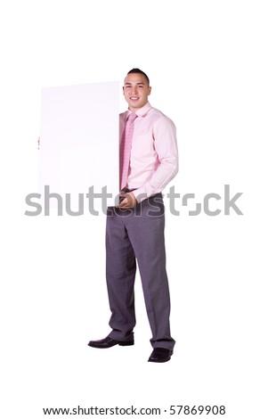 Handsome Hispanic Businessman Holding a Blank Sign - Isolated Background - stock photo