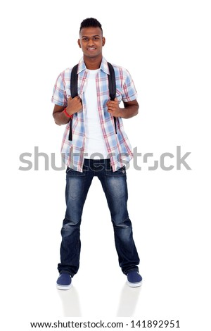 handsome indian college student isolated on white - stock photo