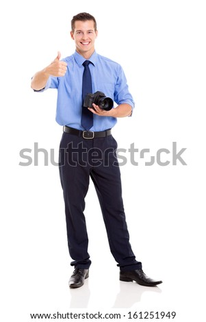 handsome journalist giving thumb up isolated on white - stock photo