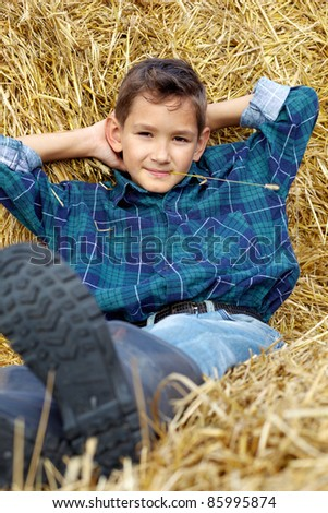 Handsome lad lying on hay in countryside