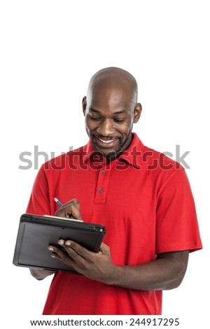 Handsome late 20s black man camp director writing on a clipboard isolated on a white background