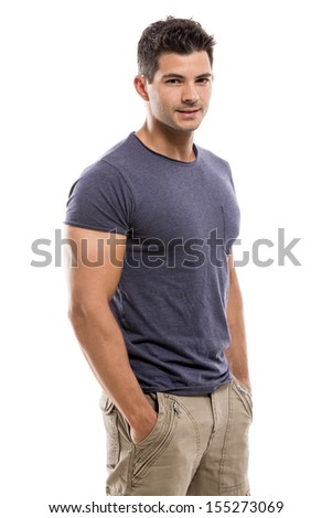 Handsome latin man smiling, isolated over a white background - stock photo