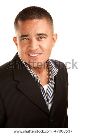 Handsome Latino Man in Jacket and Striped Shirt - stock photo