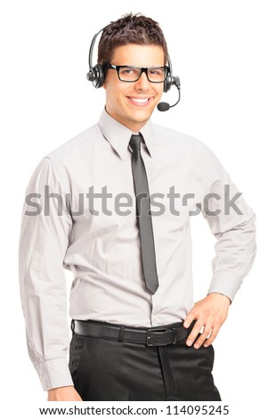 Handsome male customer service operator wearing a headset isolated on white background - stock photo