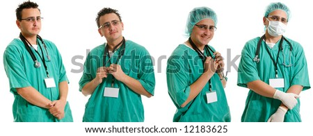 Handsome male doctor or nurse with stethoscope