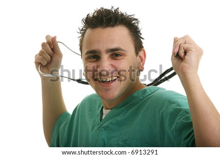 Handsome male doctor or nurse with stethoscope - stock photo