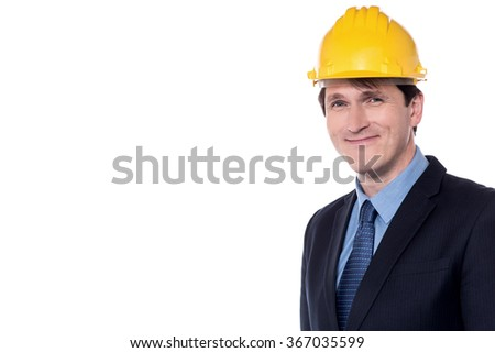Handsome male engineer isolated against white background