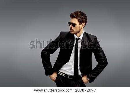 Handsome  male fashion model - stock photo