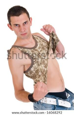 Handsome male gigolo, stripper,  Studio shot, white background - stock photo