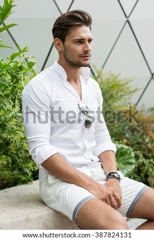 Handsome male model - stock photo