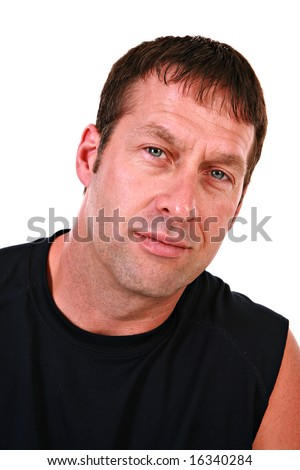 Handsome Male Model Headshot on Isolated White - stock photo