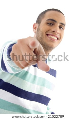 handsome male pointing towards with white background - stock photo