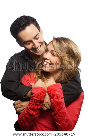 Handsome man and beautiful blonde woman are very happy together  - stock photo