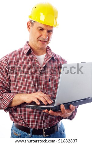 handsome man-builder in helmet examining on a laptop on a white background - stock photo