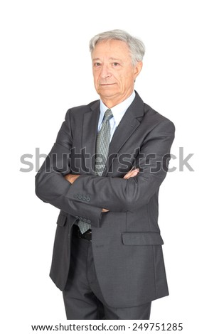 Handsome man doing different expressions in different sets of clothes: arms crossed - stock photo