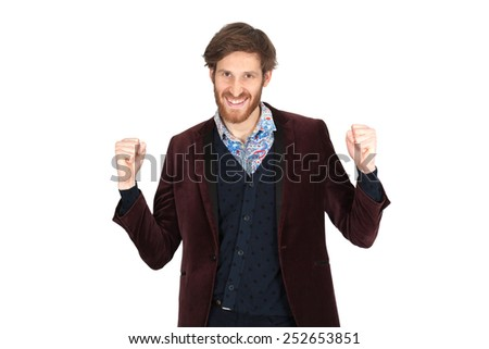 Handsome man doing different expressions in different sets of clothes: arms raised - stock photo