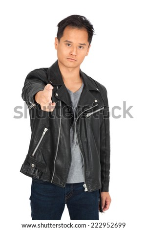 Handsome man doing different expressions in different sets of clothes: gun sign