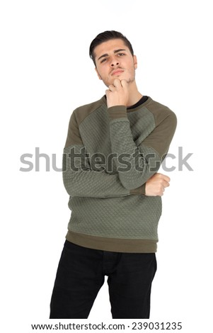Handsome man doing different expressions in different sets of clothes: Hand on chin - stock photo