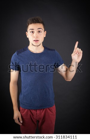 Handsome man doing different expressions in different sets of clothes: idea - stock photo