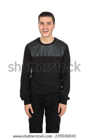 Handsome man doing different expressions in different sets of clothes: joy - stock photo